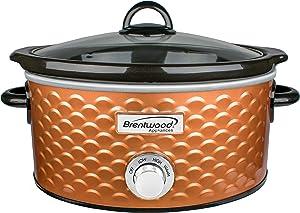 Brentwood SC-140C Slow Cooker Scallop Pattern, 4.5 Quart, Copper
