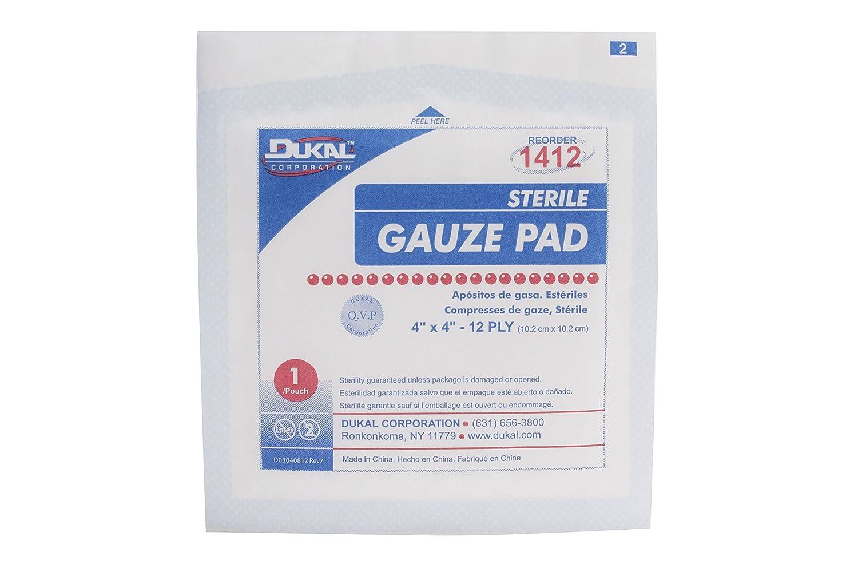 DUKAL 1412 gasa Pad, 12 capas, estéril, 4