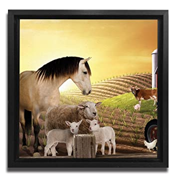 JP London Ready to Hang Made in North America Framed 1.5in Thick Gallery Wrap Canvas Wall Art Animal Farm Sepia Horse 18in SQSFCNV2006