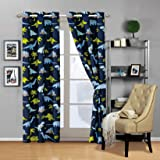 Fancy Linen 2 Panel Curtain Set with Grommets New (Dinosaur Blue Light Blue Grey Green)