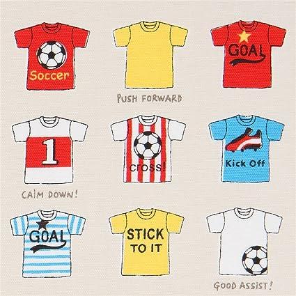 Tela oxford beis con camiseta fútbol colores de Kokka