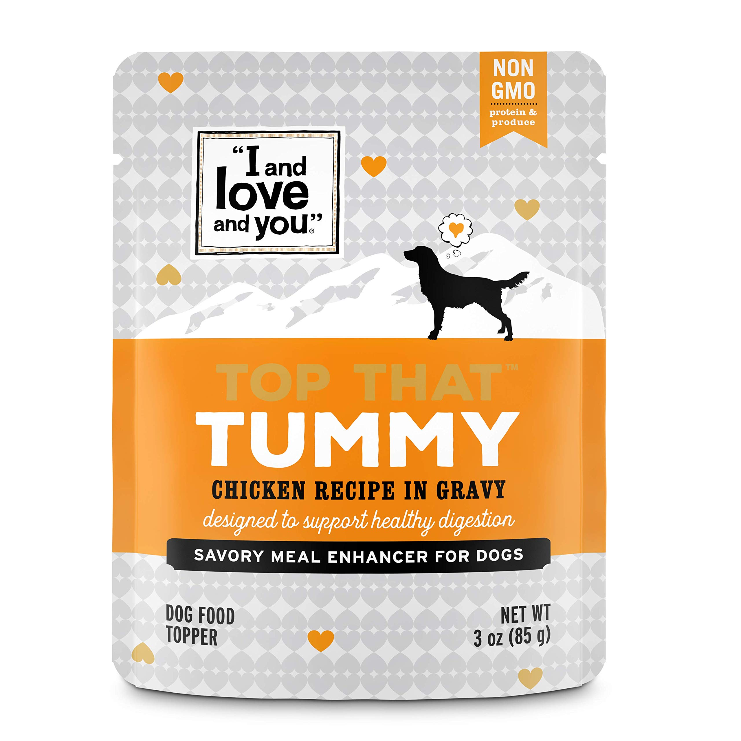 ''I and love and you'' Top That Tummy Wet Dog Food Pouch, Chicken Recipe in Gravy, 3oz, Pack of 12 by I and love and you