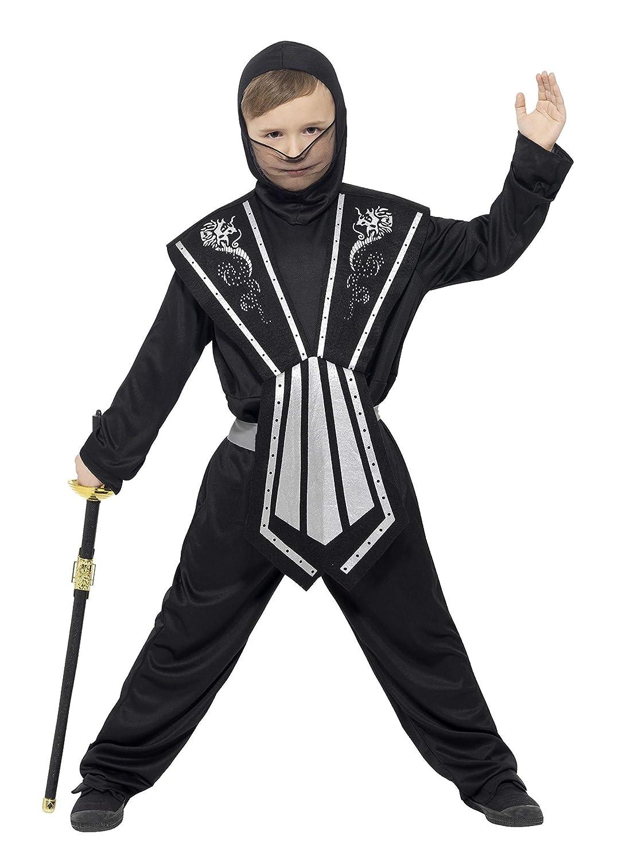 Smiffys Disfraz de Ninja, Negro y Plata, con Mono, Tabardo ...