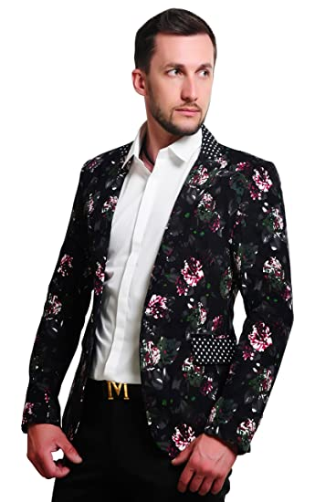 ba523412528fa MOGU Men s 1 Button Floral Cotton Blazer Sport Coat Jacket  Amazon ...