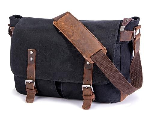 dccf9ad486 SUVOM Mens Canvas Laptop Messenger Bag Leather Crossbody Shoulder School  Satchel-14 Inch  Amazon.co.uk  Shoes   Bags