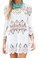 GDKEY Women's Beach Wear Bikini Cover Up Crochet Tunic Dress