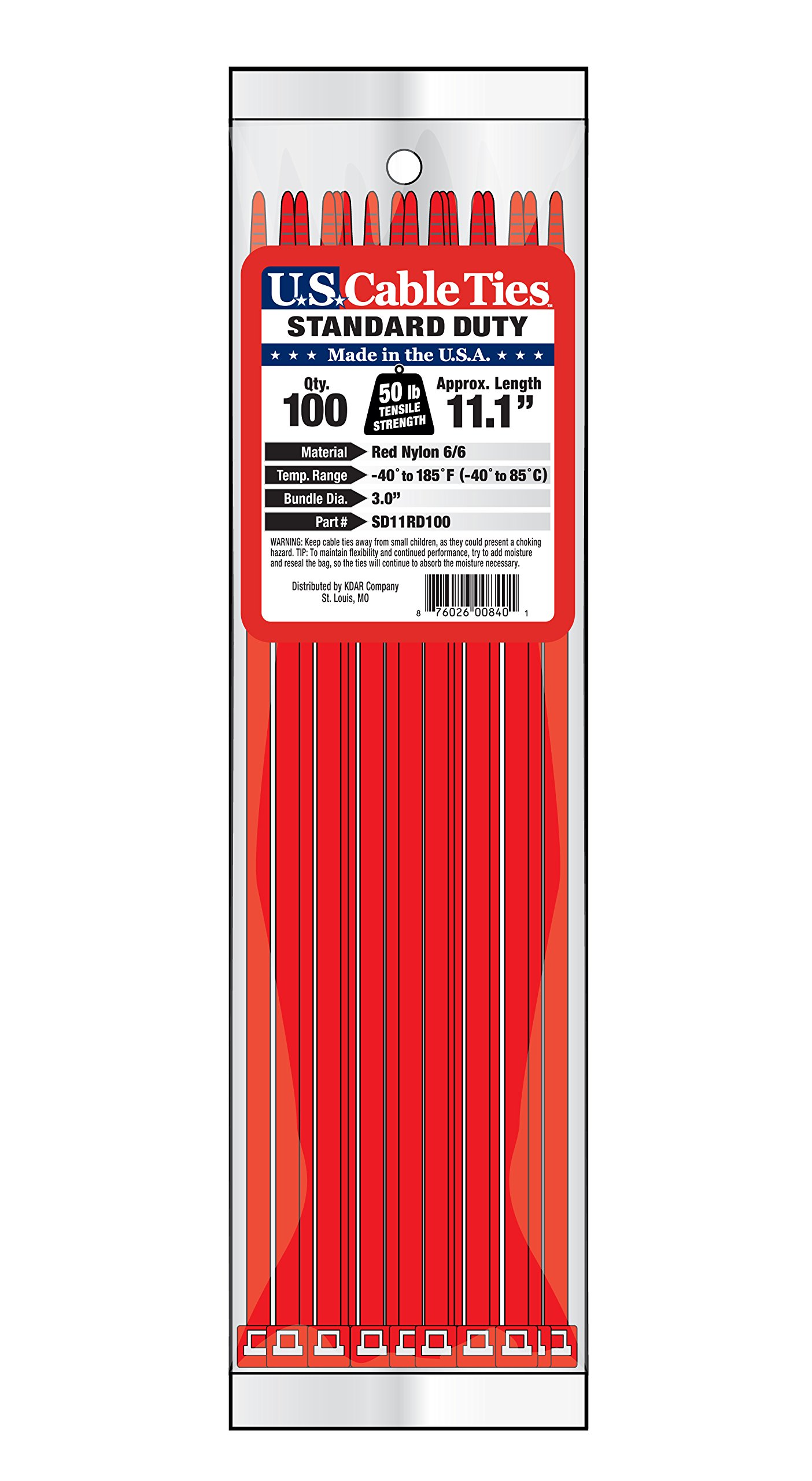 US Cable Ties SD11RD100 11-Inch Standard Duty Cable Ties, Red, 100-Pack