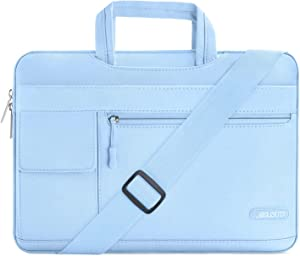 MOSISO Laptop Shoulder Bag Compatible with 13-13.3 inch MacBook Pro, MacBook Air, Notebook Computer, Polyester Flapover Briefcase Sleeve Case, Airy Blue
