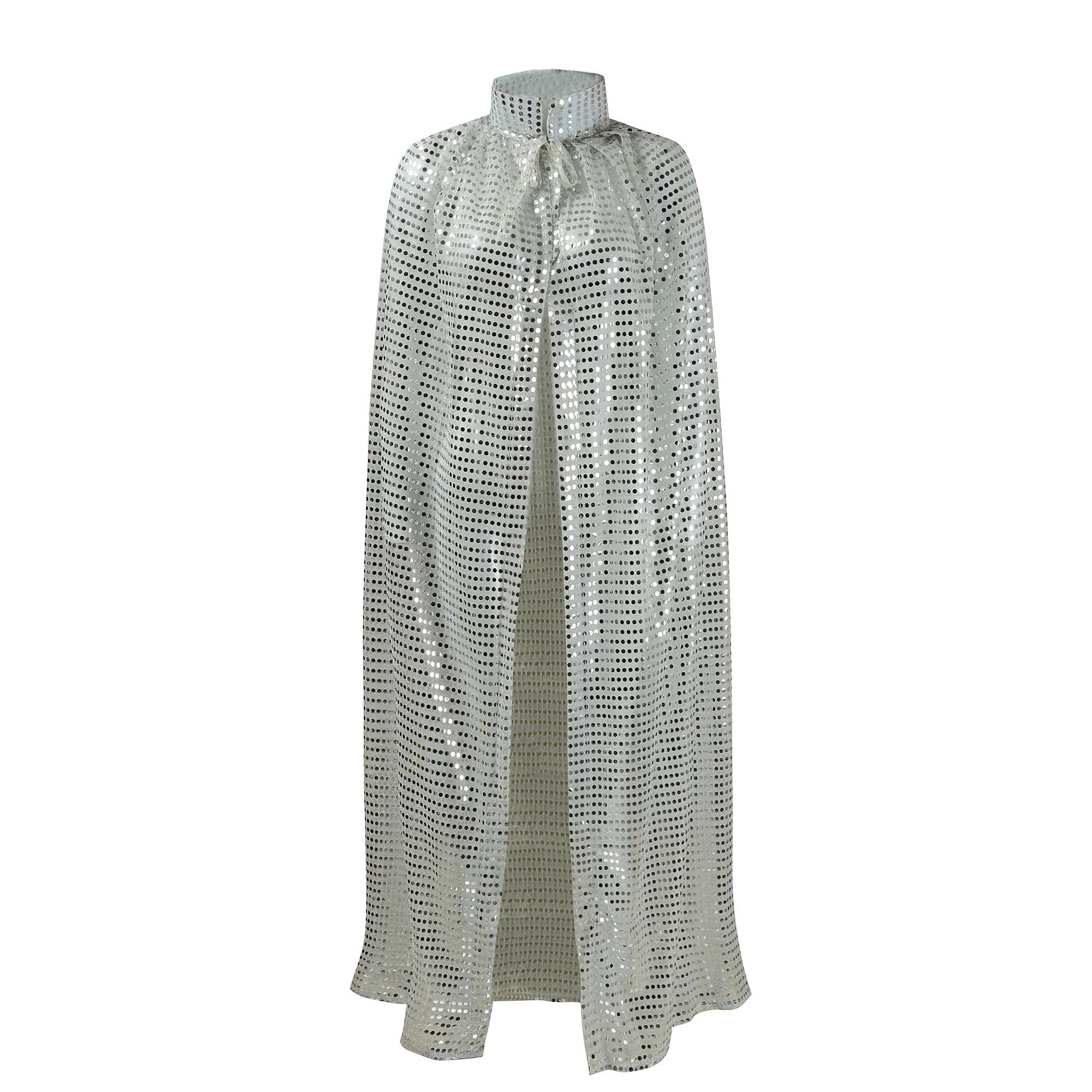 Ladies Cloaks Full Length Colored Sequins Goddess Cape Halloween Christmas Outerwear (Silver)
