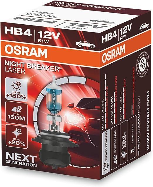 OSRAM NIGHT BREAKER LASER HB4, Gen 2, +150% más luz, bombillas HB4 para faros delanteros, 9006NL, 12V, estuche plegable (1 lámpara)
