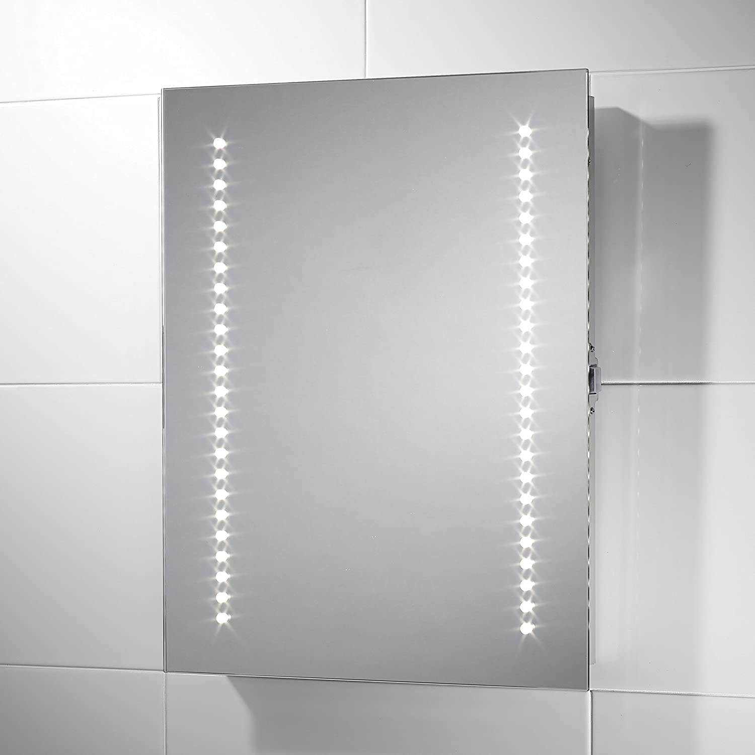 Pebble Grey Small Rectangular Viva LED Illuminated Bathroom Mirror Size 390mmW X 500mmH With Infra Red Sensor Switch Dual Voltage Shaver Socket And