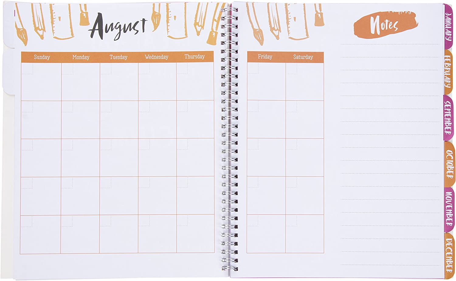 Weekly and Monthly Calendar Teacher Planner Yearly Agenda Spiral Twin-Wire Binding Schedule Organizer for School Study Academic Planner 9 x 11 Inches Lesson Plan Book