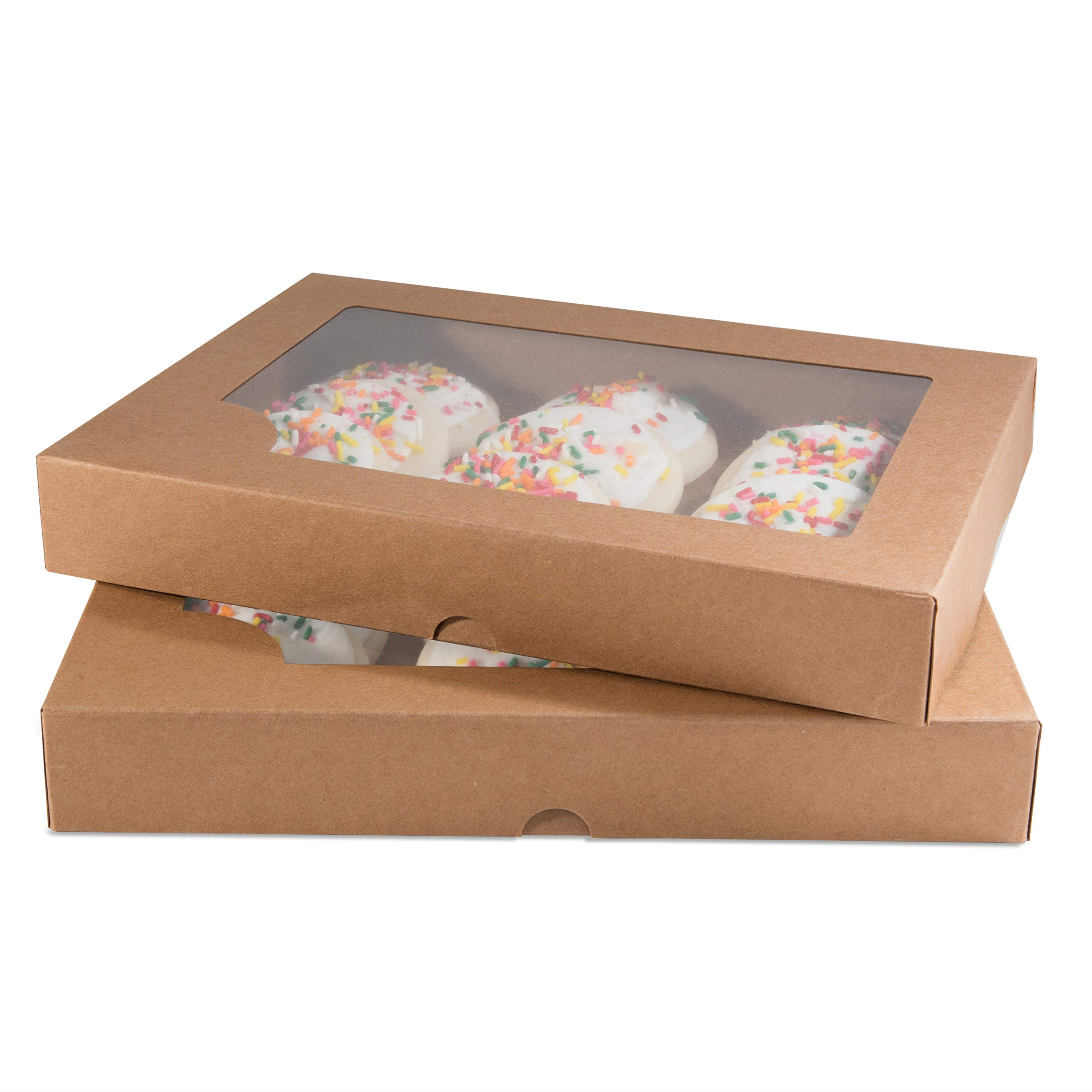 Cookie Cake Shoppe Kraft Gift Boxes with Clear Window (12-Pack) Paper DIY Craft Storage | For Cookies, Goodies, Sweet Treats, TShirts, Gifts, Baked Goods | Hobbies, Crafter, Other Small Favors by Cookie Cake Shop