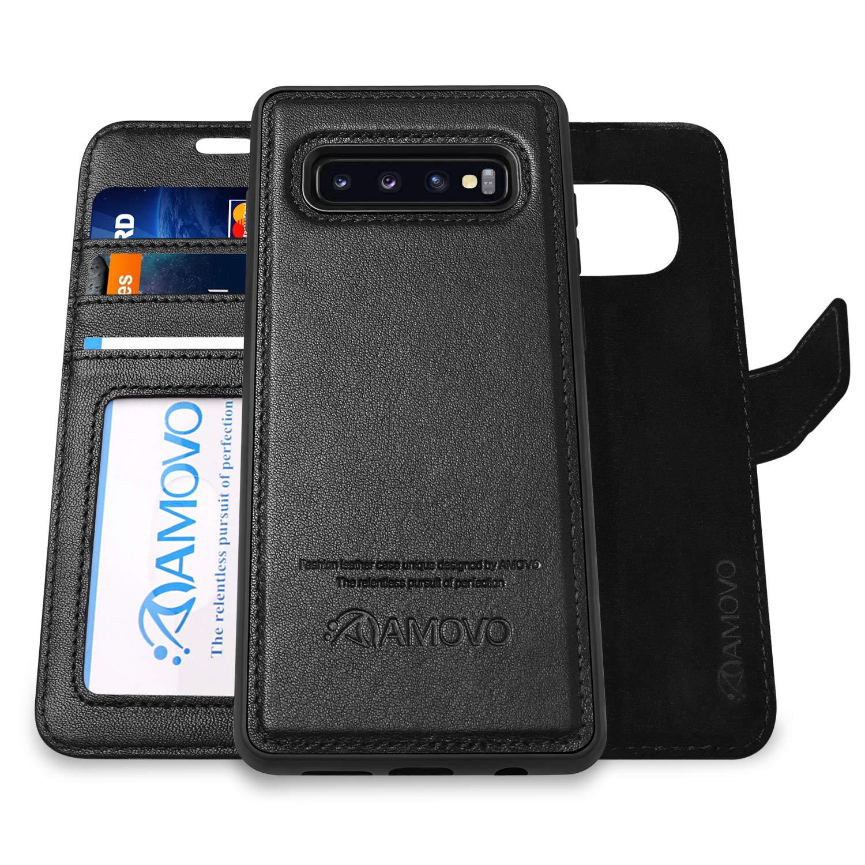 Galaxy S10 Plus Wallet Case Detachable [Genuine Leather] AMOVO Leather Case for Galaxy S10 Plus [2 in 1] [Wireless Charge] [Wristlet] Folio Case for Samsung S10+ (S10Plus, Genuine Leather Black) by Amovo