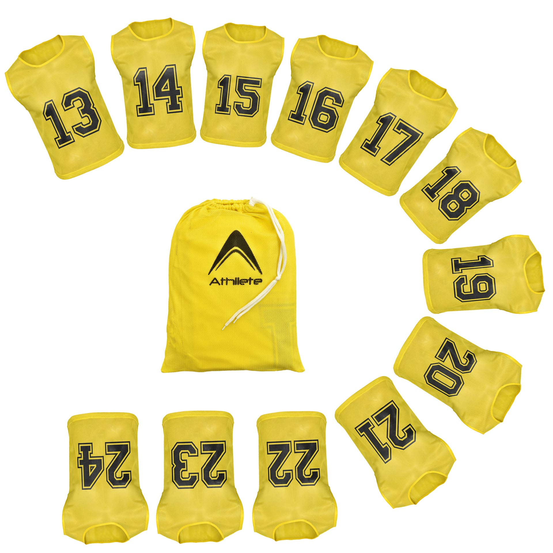 Athllete Set of 12 - Scrimmage Vest/Pinnies/Team Practice Jerseys with Free Carry Bag. Sizes for Children Youth Adult and Adult XL (Golden Yellow Numbered, Medium) by Athllete
