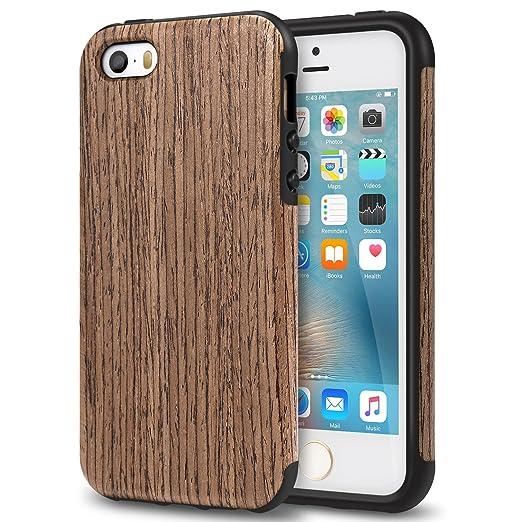 TENDLIN iPhone SE Hülle Holz und Flexiblem TPU Silikon Hybrid Weiche Schutzhülle für iPhone SE 5S 5 (Schwarz Palisander)