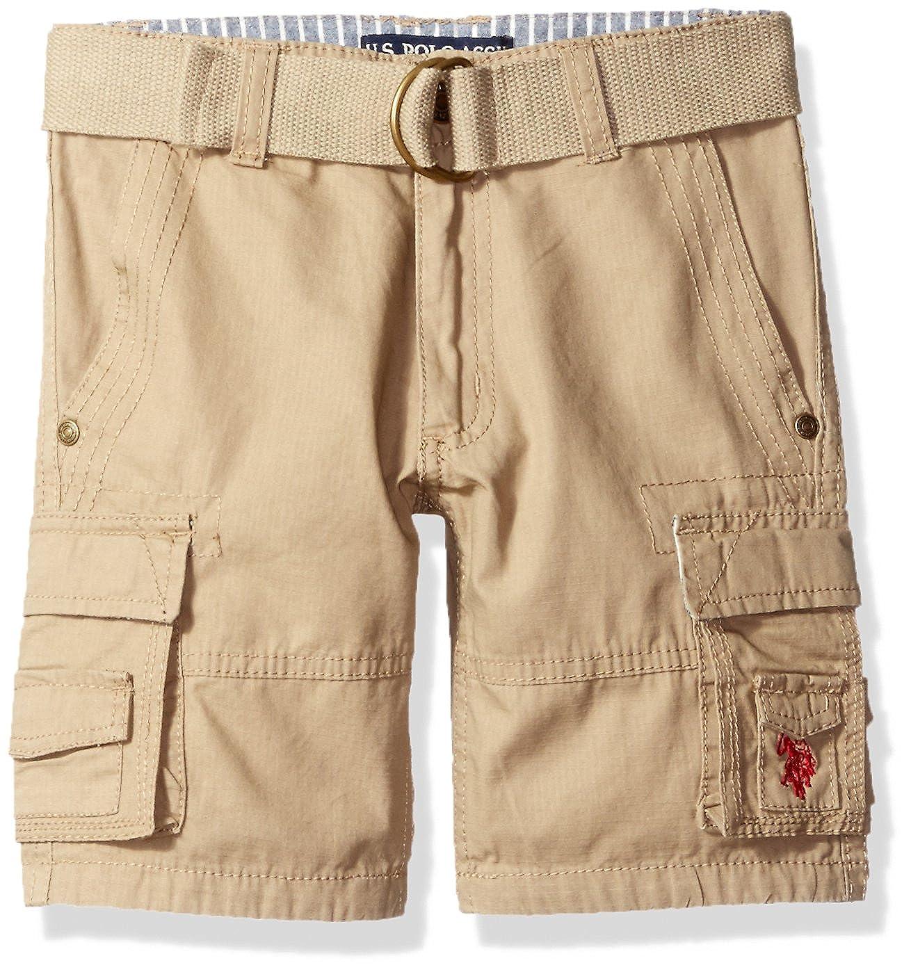 U.S. Polo Assn Kinder Jungen Shorts kurze Hose Cargo mit Gürtel beige 110 - 116 S5HH41DDV-5
