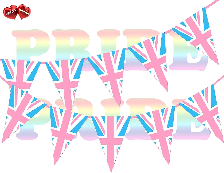 Transgender Pride Stripes Coloured Union Jack Bunting Banner by PARTY DECOR UK