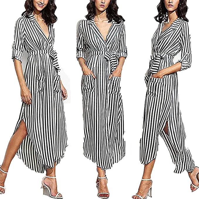 172a728d55ac better-caress Summer Striped Shirt Dress Women Casual Long Sleeve Office  Turn-Down Collar