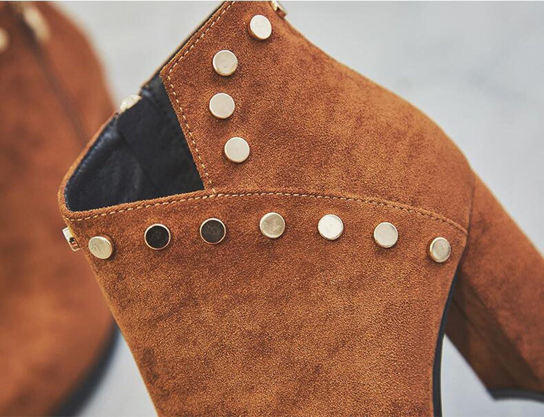 Lederstiefel Damen Damen Damen Spitzen Schuhe High Heels Grob Mit Seitlichem Reißverschluss Herbst Und Winter Plus Kaschmir Mode Britischen Stil 551c6e