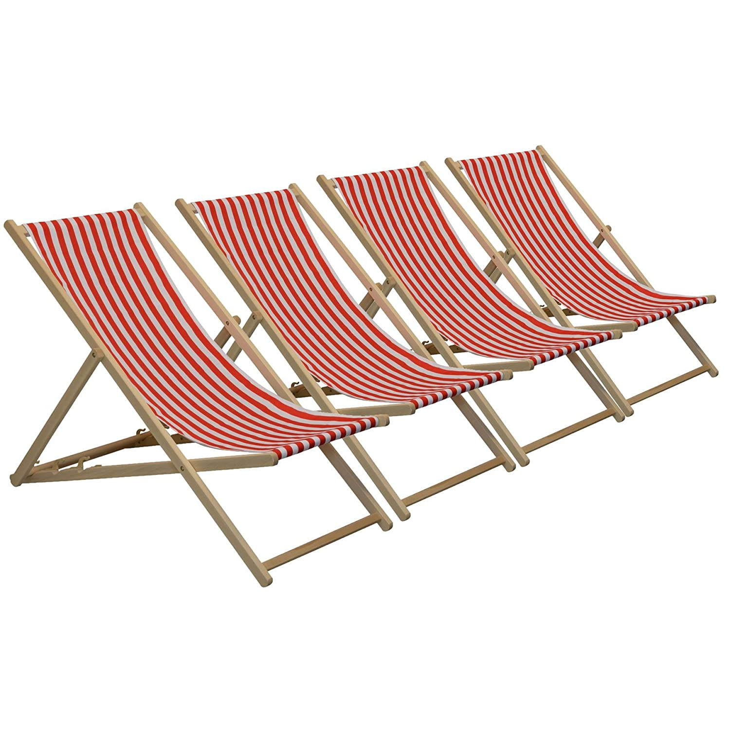 Traditional Adjustable Garden / Beach-style Deck Chair - Red / White Stripe - Pack of 4 Harbour Housewares
