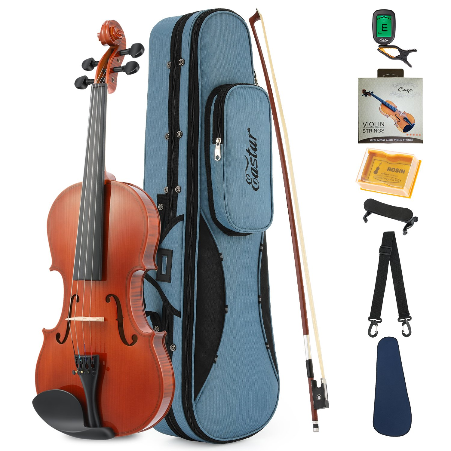 Eastar EVA-1 1/2 Natural Violin Set For Beginner Student with Hard Case, Rosin, Shoulder Rest, Bow, Clip-on Tuner and Extra Strings