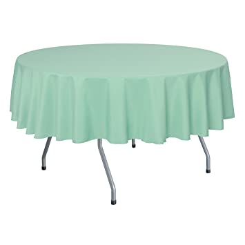 Ultimate Textile 70 Inch Round Polyester Linen Tablecloth Mint Light Green