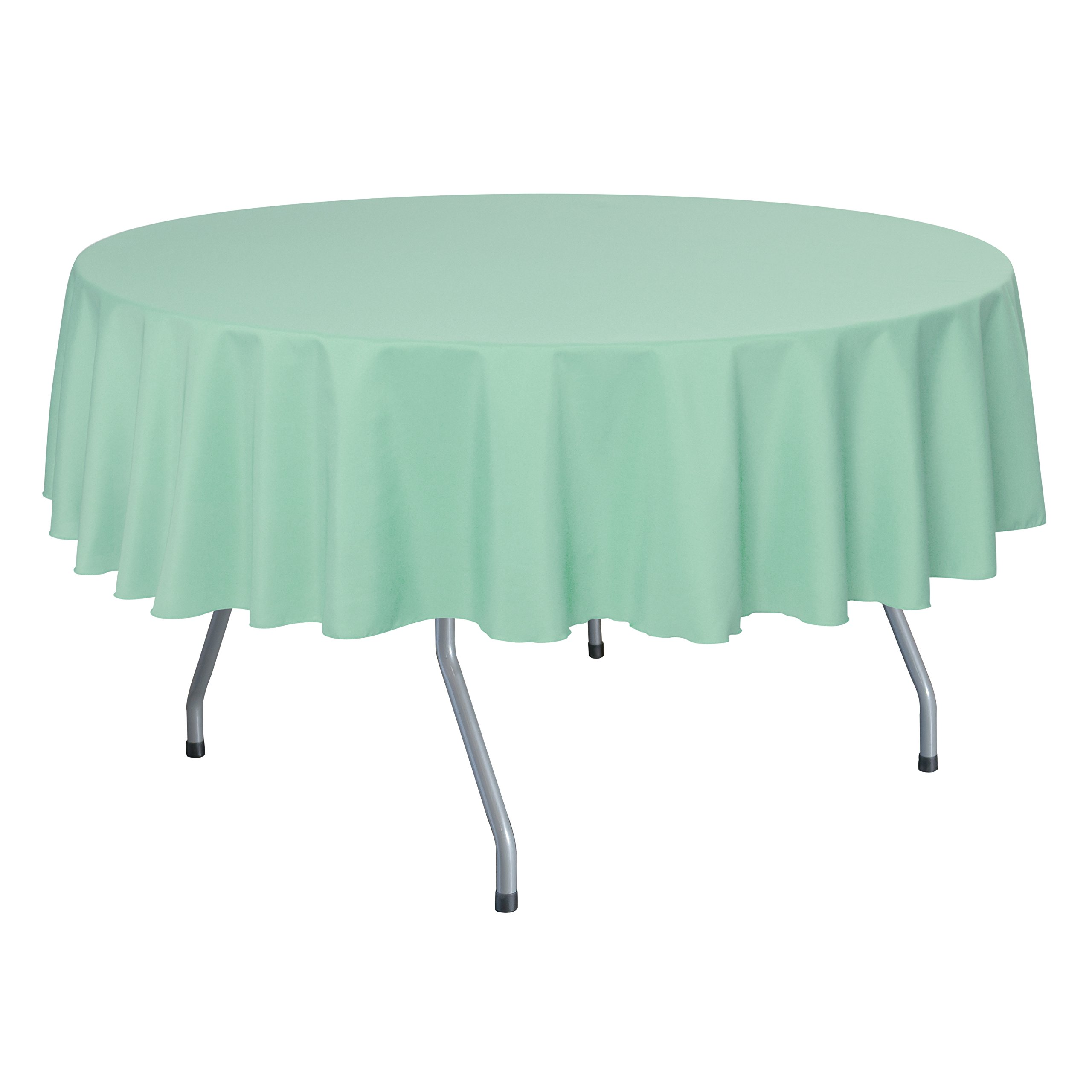 Ultimate Textile (10 Pack) 70-Inch Round Polyester Linen Tablecloth - for Wedding, Restaurant or Banquet use, Mint Light Green