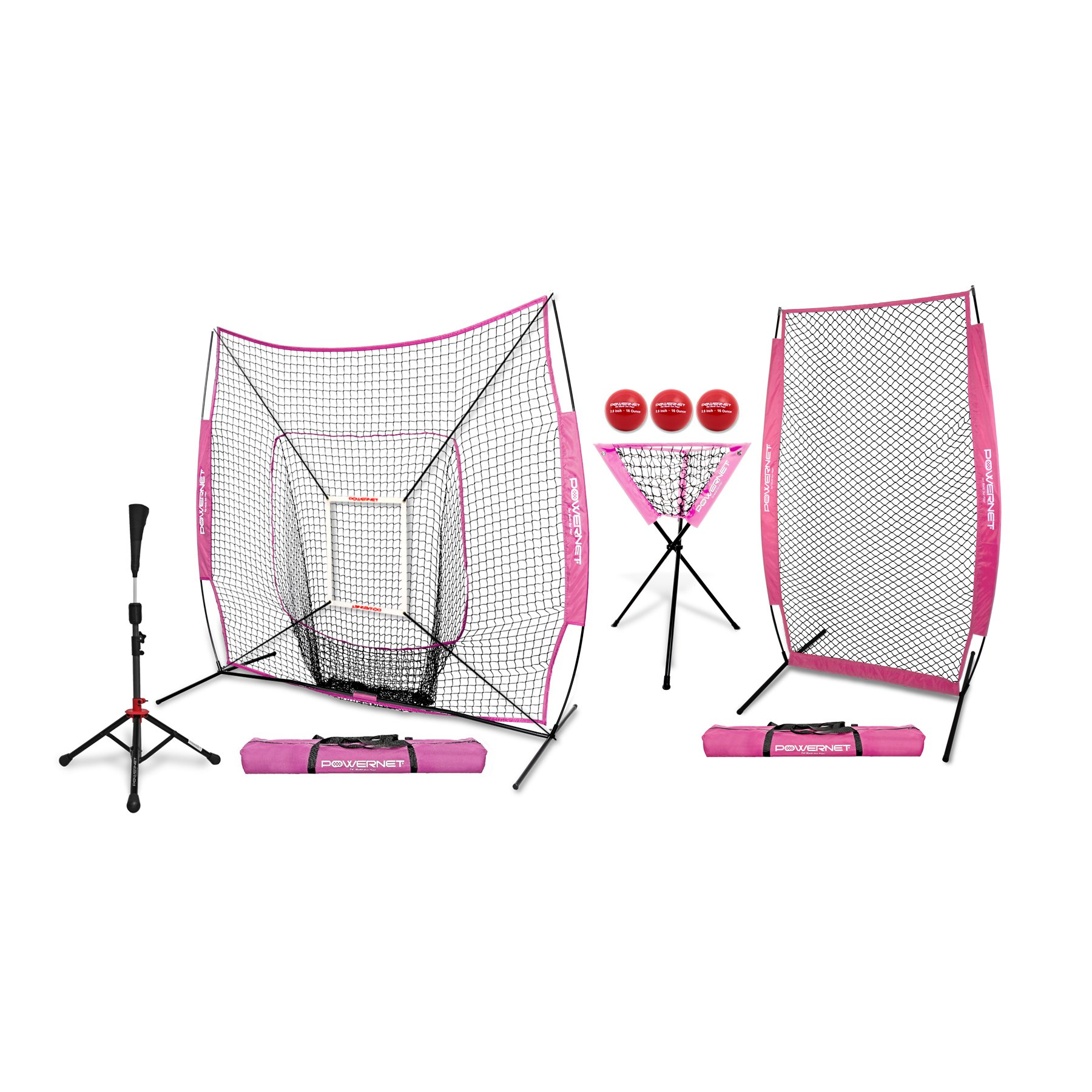 PowerNet [All in ONE Coach Bundle (Pink) 7x7 DLX Practice Net + I-Screen + Deluxe Tee + Ball Caddy + 3 Pack Weighted Training Ball + Strike Zone Bundle | Baseball Softball Pitching Batting by PowerNet
