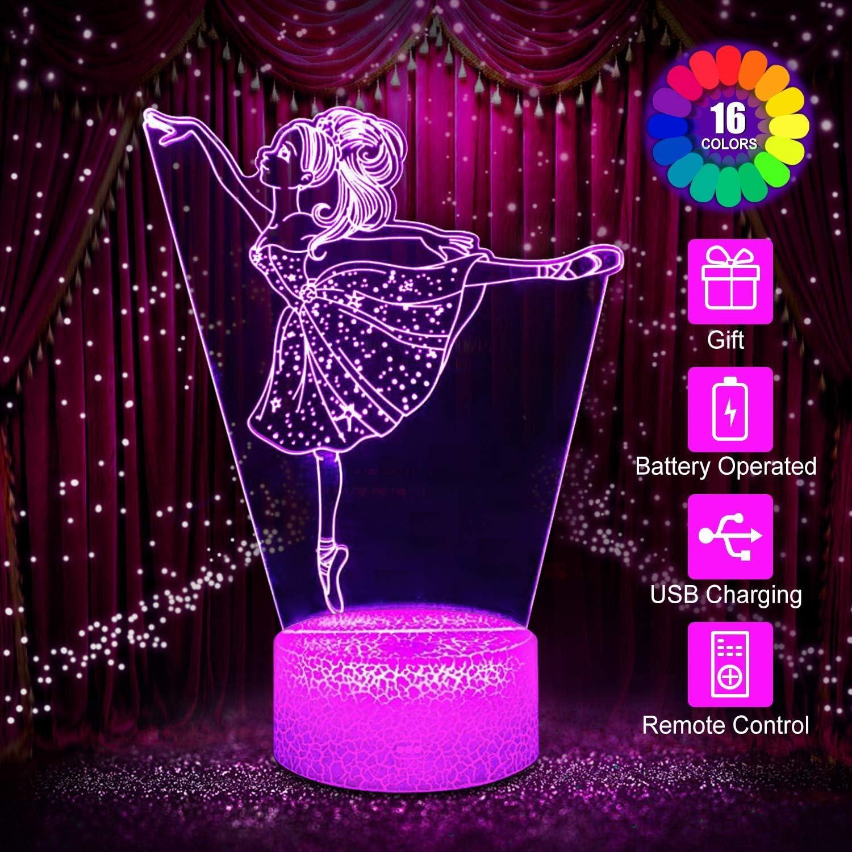 Ballet Girl Night Light para Ni/ños Ni/ñas y Adultos Regalos de Vacaciones y Cumplea/ños para Ni/ños L/ámpara de Noche Cambiante de 16 Colores Luces de L/ámpara de Ilusi/ón 3D