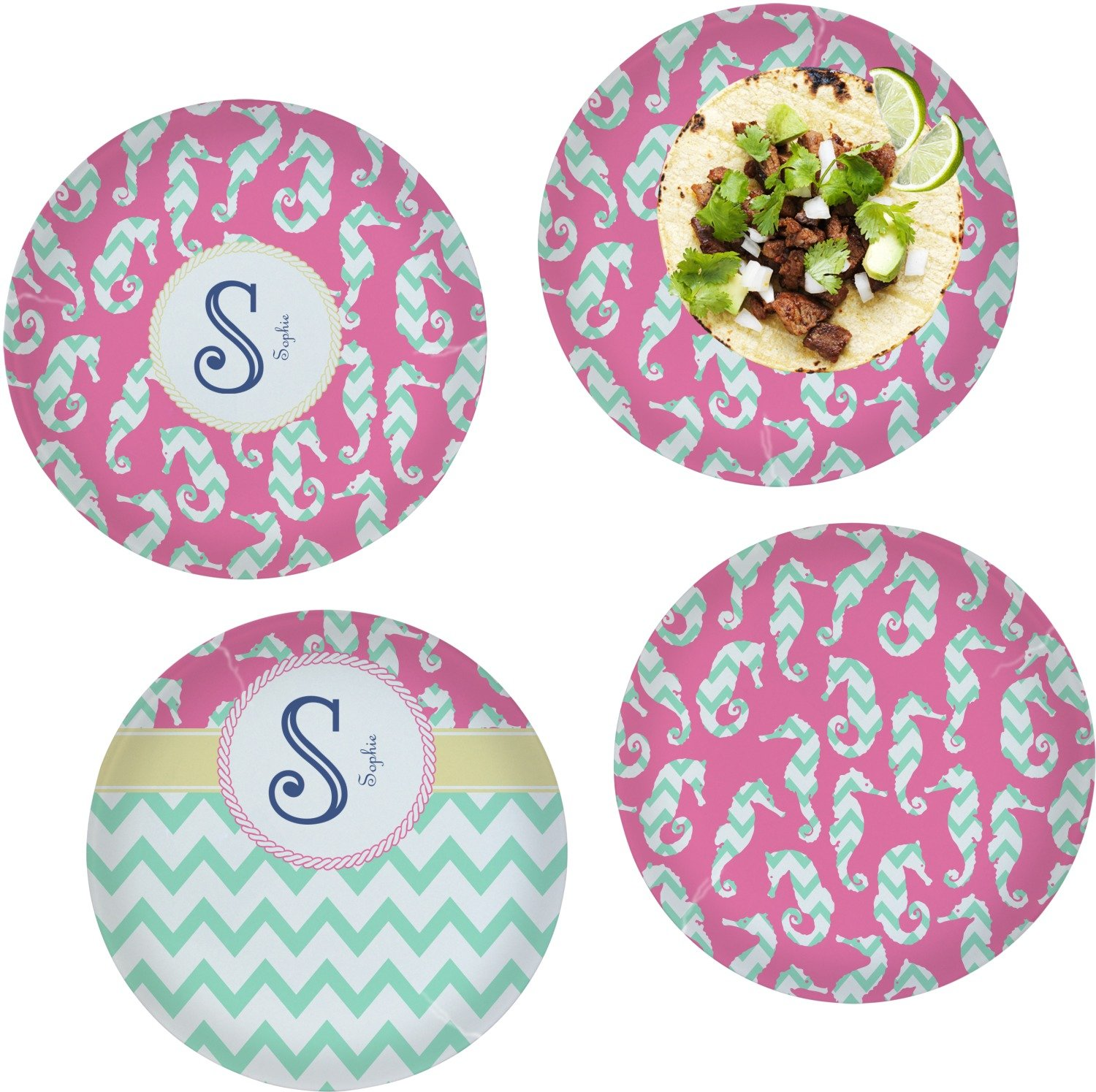 Sea Horses Set of 4 Lunch / Dinner Plates (Glass) (Personalized)
