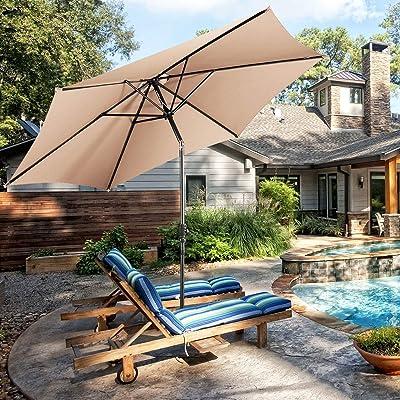 SPSUPE, Round Tilt Garden Market Table Mental, Crank 10-Foot Outdoor Water/UV-Resistant Patio Umbrella, Beige : Garden & Outdoor