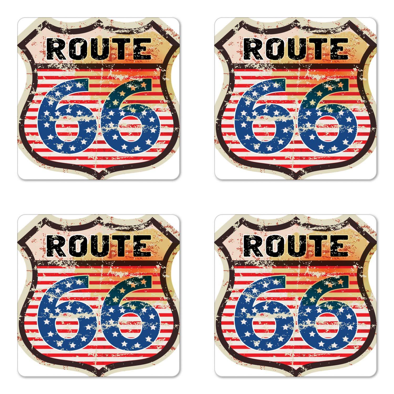 lunarableルート66コースターセットの4つの、レトロ人気American Road Trip Sign with flag stars national Journeyデザイン、正方形ハードボードグロスコースターfor Drinks、マルチカラー   B07FJMDQ75