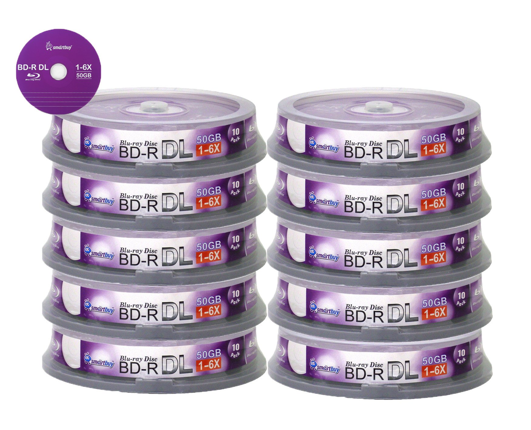 Smartbuy 50gb 6x Blu-ray Bd-r Dl Dual Layer Double Layer Logo Blank Data Recordable Media Disc Spindle (100-Disc)
