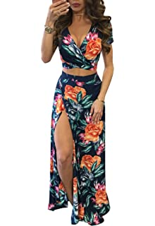 e51bea70e78 Gobought Womens 2 Piece Outfits Summer Floral Beach Crop and Side Slit Skirt
