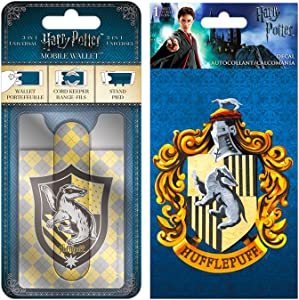 Harry Potter Wallet for Phone Set - Deluxe Harry Potter Hufflepuff Stick on Wallet for Cell Phone with Card Holder, Stand and Bonus Hufflepuff Decal (Harry Potter Accessories)