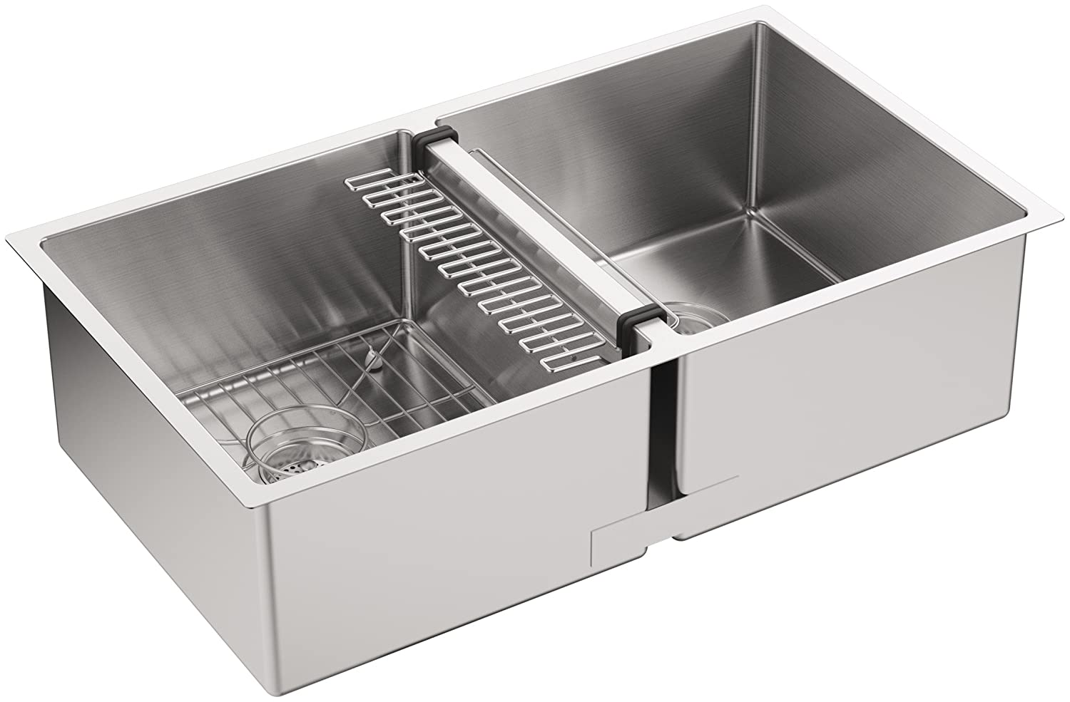 kohler k5281na strive 32 x x 9516inch undermount doubleequal kitchen sink with basin rack stainless steel 1pack double bowl sinks