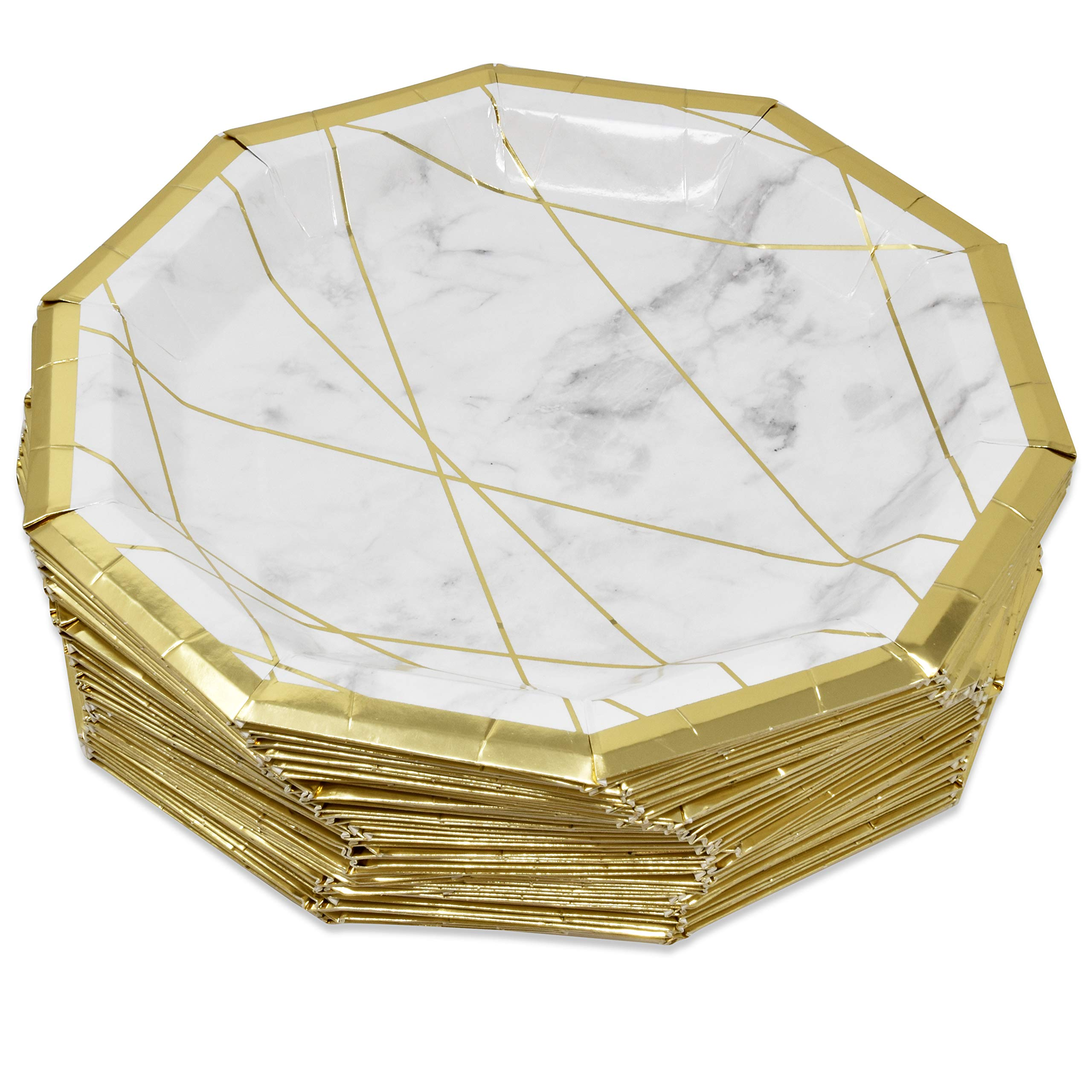50 Marble Paper Plates Disposable 9'' Elegant Decagon Shape with Gold Foil Border and White & Grey Marbleized Design Dinner Plate for Wedding Bridal Baby Shower Birthday Party Supplies Decorations