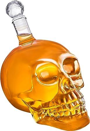 Jarra de calavera - Frasco de vidrio con forma de calavera y tapón de corcho (350, 550 o 1000 ml) para whisky, vino y licores, 1000 ml