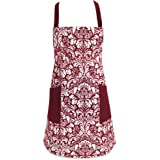 "DII Cotton Adjusatble Women Kitchen Apron with Pockets and Extra Long Ties, 37.5 x 29"", Cute Apron for Cooking, Baking, Gardening, Crafting, BBQ-Damask Wine"