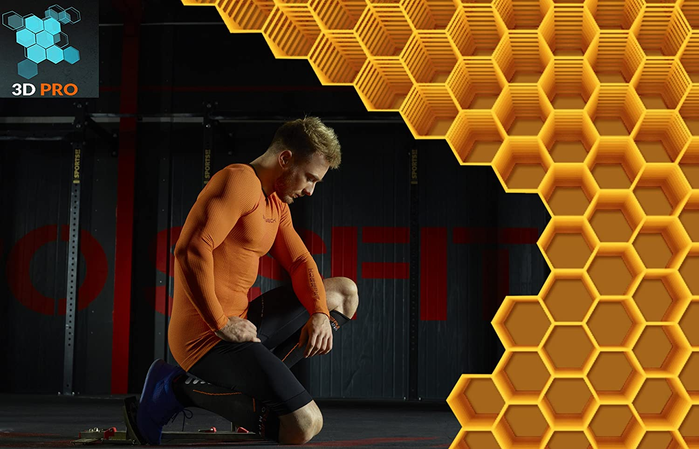 Antibakteriell BRUBECK/® LS13090 3D MOTORBIKE PRO Herren Motorrad-Shirt Langarm Atmungsaktiv Funktionskleidung 3D-Struktur Daumenl/öcher Anti-allergisch