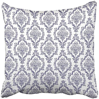 I DO Pillow Covers Print Delft Navy Blue White Damask Fancy Old Victorian  Abstract Antique Arabesque