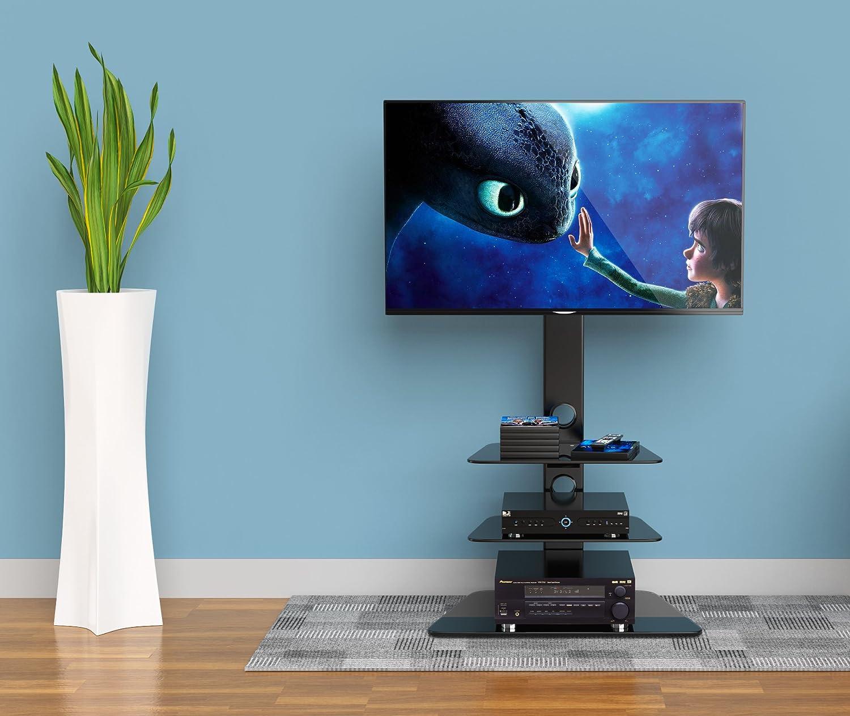 1home Base de vidrio con cantilever y soporte giratorio para TV de ...