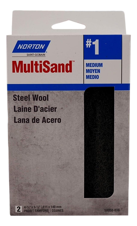 Gray 4 Pack, Grit #1 Medium, 5.5 x 4.4 in Norton Steel Wool Pads