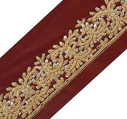 Crafts Just Vintage Sari Border Antique Hand Beaded Indian Trim Sewing Maroon Lace Easy To Use