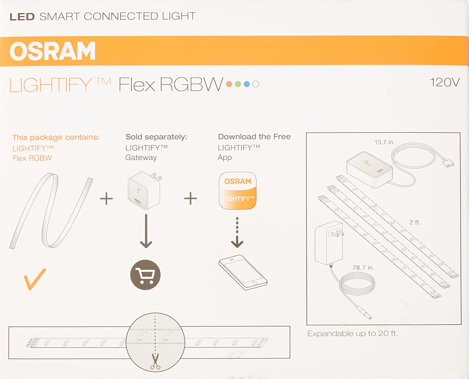 Sylvania Smart Home By Osram Led Flex Light Strip Rgbw For Wiring Diagram Free Download Schematic Connected Adjustable Warm White To Daylight Color 2700k 6500k Works With