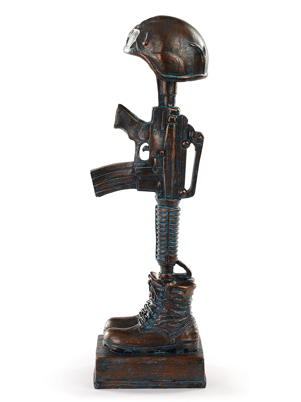 Military Soldier Battle Cross Patina 11.75 Inch Resin Decorative Indoor Outdoor Garden Statue