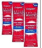 (3 Pack) Colgate Optic White Platinum, High Impact White. Anticavity Flouride Toothpaste, Glistening Mint 3.0 oz. ea.