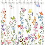 Funnytree Floral Plant Watercolor Flower Butterfly Shower Curtain Set with Hooks Home Bathroom Bathtubs Decor Easy Care Machi