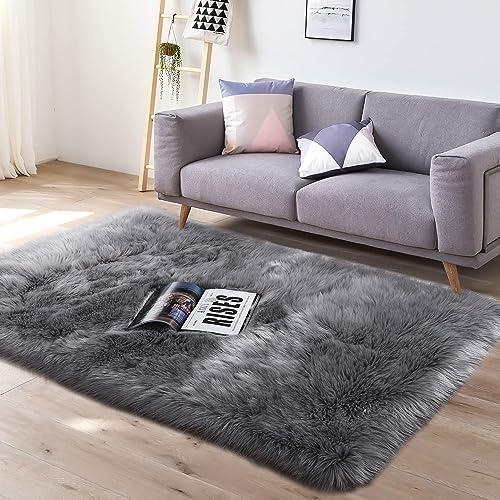 YJ.GWL Super Soft Faux Fur Area Rug 3 x5 for Bedroom Sofa Living Room Fluffy Bedside Rugs Home Decor,Grey Rectangle